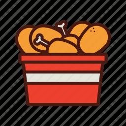 bucket, chicken, fast, food, kfc icon