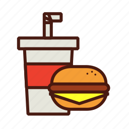 cheeseburger, combo, fast, food, meal, soda icon