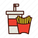 combo, fast, food, french fries, meal, soda icon