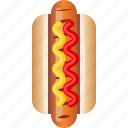 fast, food, hot dog, ketchup, sausage, snack, yumminky icon