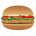 chicken burger, fast, food, hamburger, snack, tomato, yumminky icon