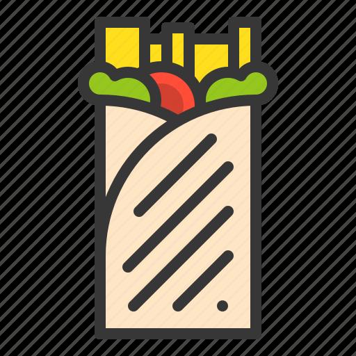 burrito, fast food, food, junk food, mexican food, sandwich, shawarma icon