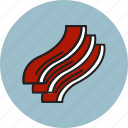 bacon, fat, food, meat, pork, slice icon