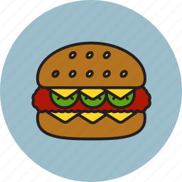bread, burger, cheese, cheeseburger, cucumber, food, meat icon