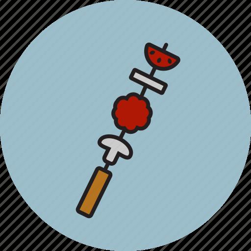 grilled, kebab, meat, meatball, mushroom, stick, tomato icon