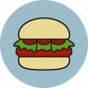 bread, burger, ham, hamburger, meat, salad, tomato icon