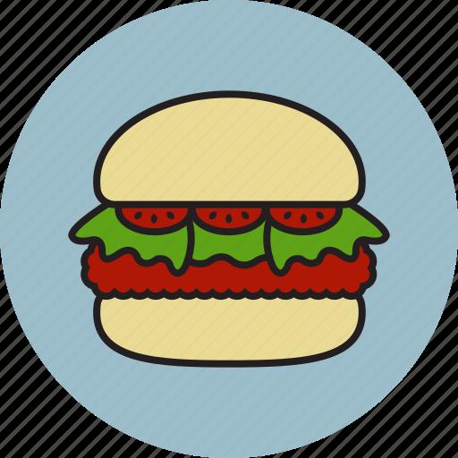 bread, burger, ham, hamburger, meat, salad, tomato icon