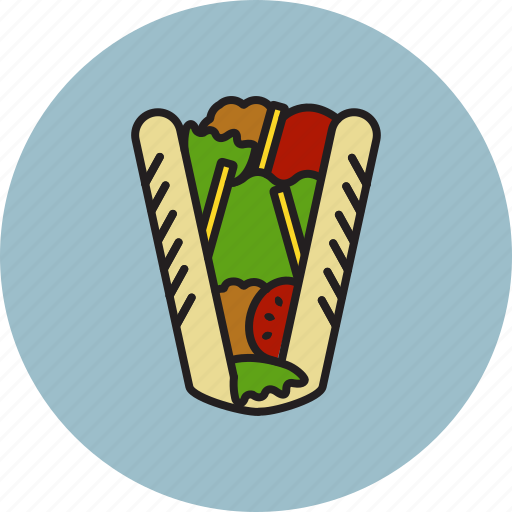 fries, kebab, meat, potato, salad, sandwich, tomato icon