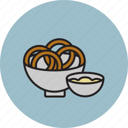 dip, food, fry, onion, rings, sauce icon