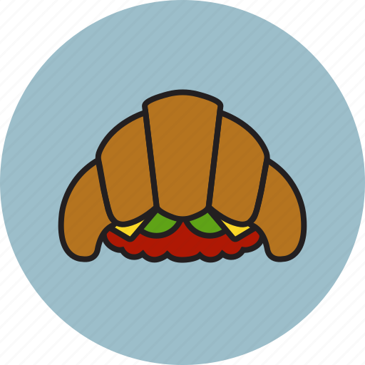 cheese, croissant, meat, salad, sandwich icon