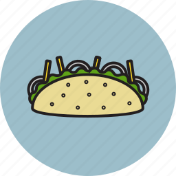 food, fries, onion, salad, taco icon