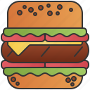 burger, cheese, fast, food, meat icon