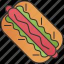 bun, hotdog, ketchup, mustard, sausage