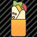 burrito, kebab, pita, tortilla, wrap icon