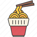 chinese, chopsticks, cup, instant, noodle icon