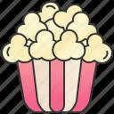 bucket, cinema, movie, popcorn, snack icon