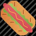 bun, hotdog, ketchup, mustard, sausage icon