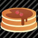 breakfast, chocolate, dessert, pancake, syrup