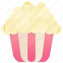 bucket, cinema, movie, popcorn, snack icon
