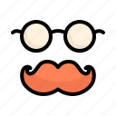 curly, face, father day, gentleman, glasses, mustache, retro