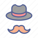 brim, day, fathers, moustache icon