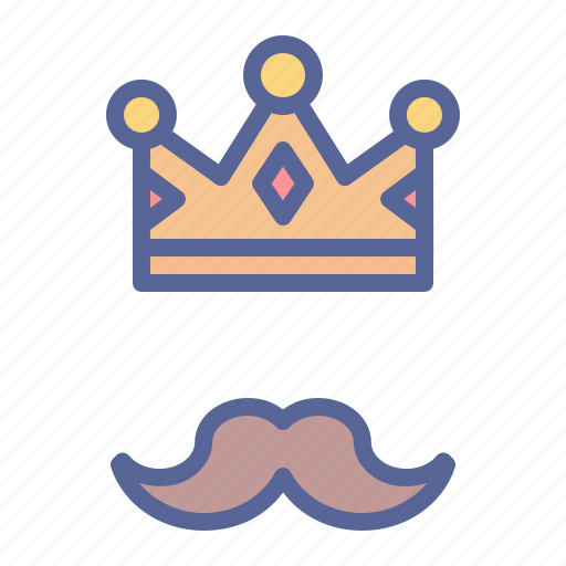crown, father, king, moustache icon