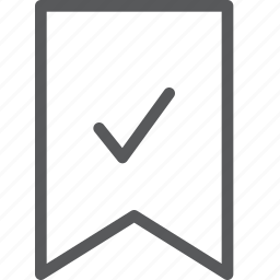 bookmark, check, document, editorial, favorite, preference, ribbon, text icon