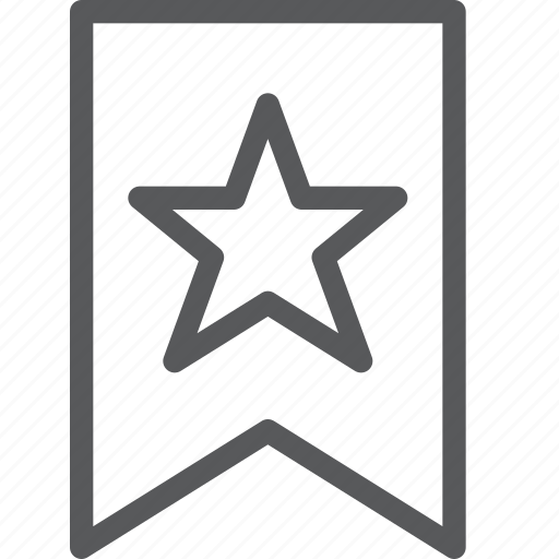 bookmark, document, favorite, preference, ribbon, star, text icon