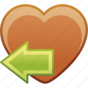 date, favorite, heart, left, love, passion icon