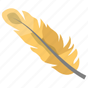 feather, golden feather, plumage, plume, quill feather icon
