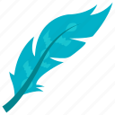 bird feather, feather, plumage, plume, turquoise feather icon