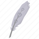 bird feather, feather, plumage, plume, quill feather icon