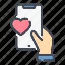 mobile, phone, hand, like, heart, love