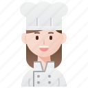 chef, cook, cuisine, patisserie, woman icon