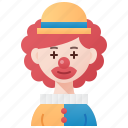 circus, clown, entertainer, funny, woman icon