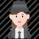 agent, detective, investigator, spy, woman icon
