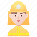 danger, emergency, firefighter, firewoman, protective icon