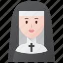 christian, church, nun, nunnery, religion icon