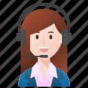 call, center, operator, service, woman icon