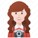 camera, photographer, professional, shooting, woman icon