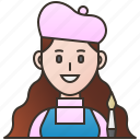 artist, drawing, female, gallery, painter icon