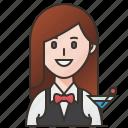barmaid, bartender, cocktail, drink, women icon