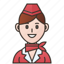 airplane, attendance, flight, hostess, stewardess icon
