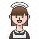 hotel, housekeeper, maid, service, woman icon