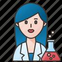 chemist, experiment, professor, scientist, woman icon