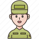 army, military, soldier, veteran, woman icon