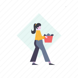 woman, carry, box, deliver, girl