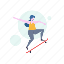woman, skating, skateboard, activity, sport