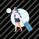 woman, transportation, travel, luggage, baggage