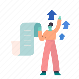 woman, female, person, receipt, document, paper, page, arrows, increase